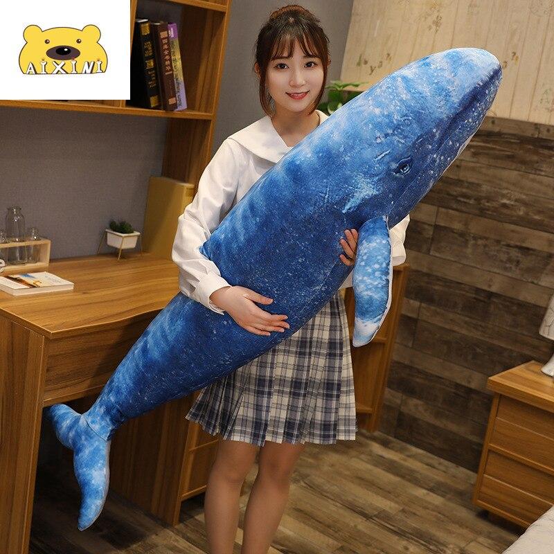 日本藍鯨毛絨玩具 巨型仿真鯨鯊毛絨玩具 大海魚娃娃 鯨毛絨動物 兒童生日禮物
