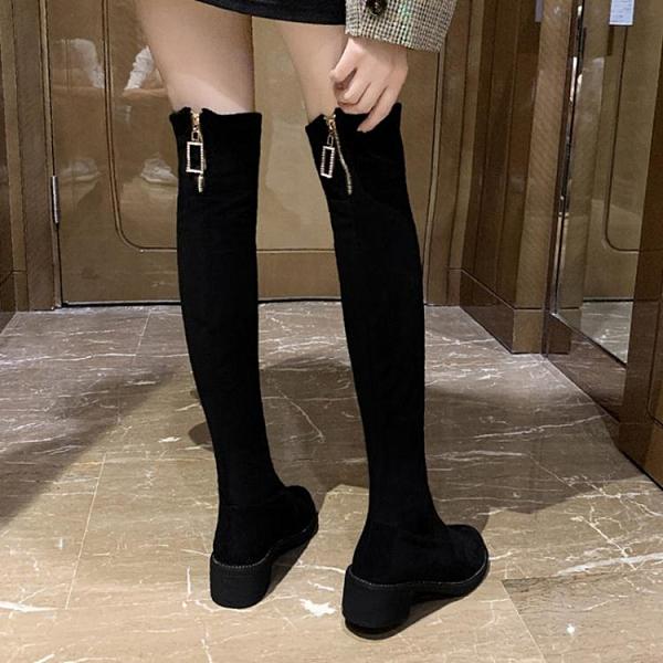 秋季鞋子女百搭高筒靴2020新款英倫風長筒靴網紅超火粗跟過膝靴子 南風小鋪