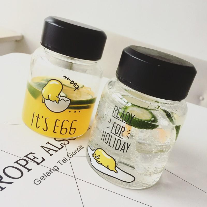 日本創意可愛小雞玻璃杯 個性防漏水瓶 學生牛奶杯透明帶蓋隨手杯