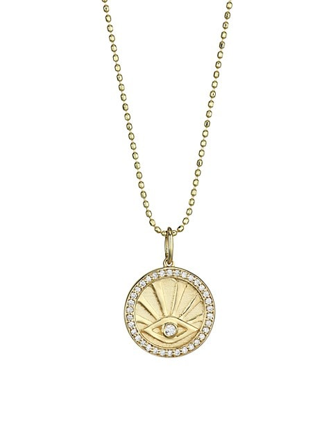 14K Yellow Gold & Diamond Evil Eye Pendant Necklace
