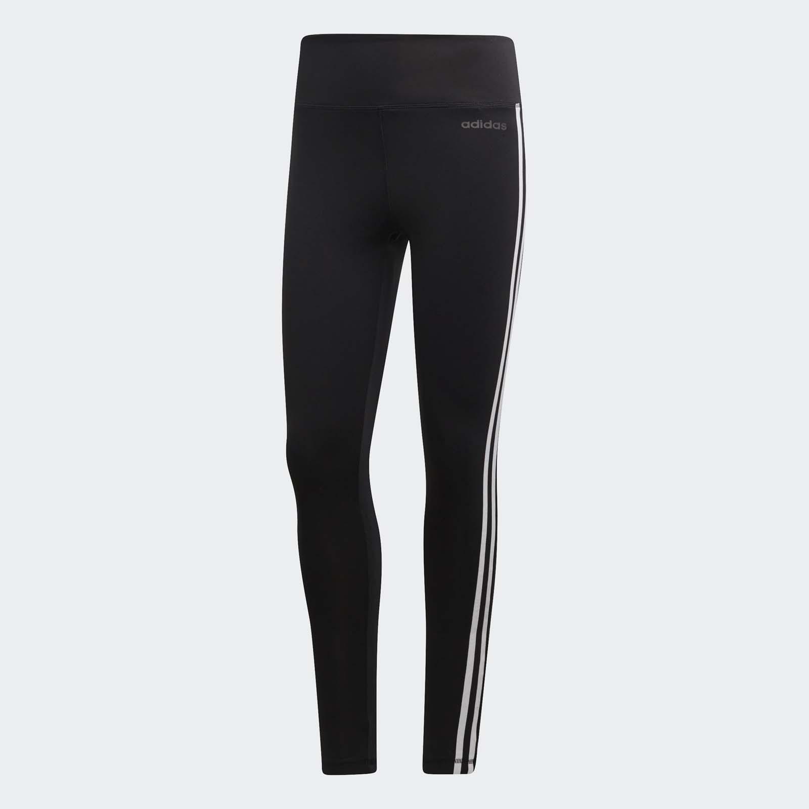 adidas 緊身褲 3-Stripes High Rise Tights 黑 白 三條線 女款【ACS】 DU2040