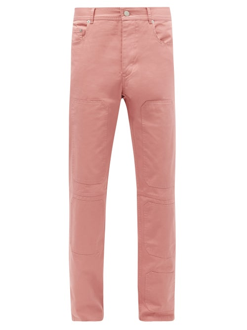 JW Anderson - Panelled Cotton-twill Straight-leg Trousers - Mens - Pink