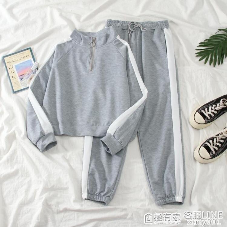 2020新款秋冬韓版潮學生寬鬆小個子休閒運動套裝女洋氣時尚兩件套