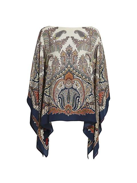 Paisley Silk Poncho