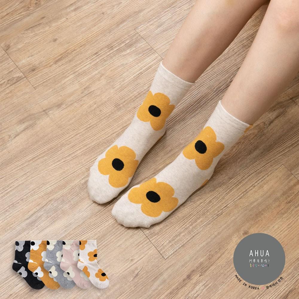 阿華有事嗎AUHA 韓國襪子 滿版大花朵中筒襪 K0907 少女襪 韓妞必備長襪 百搭純棉襪