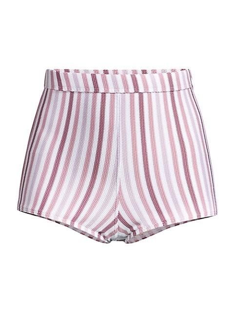 Striped High Waisted Bikini Shorts