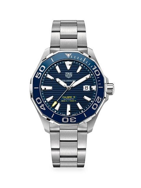 Aquaracer 43MM Stainless Steel & Ceramic Automatic Bracelet Watch