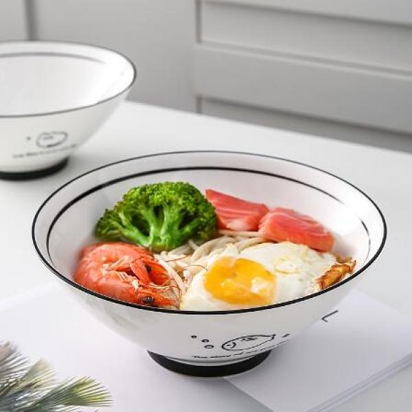 碗 面碗湯碗大號家用泡面碗日式拉面碗單個陶瓷碗創意個性可愛少女心【快速出貨八折鉅惠】