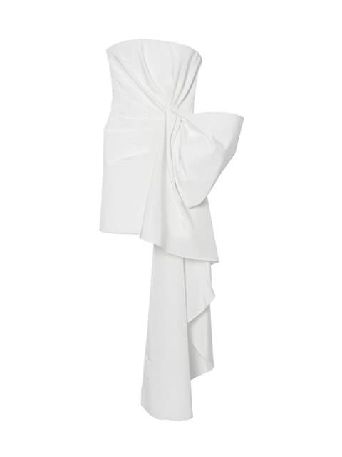 Strapless Side Drape Silk Dress