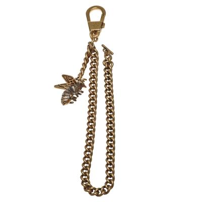 GUCCI 蜜蜂造型長鍊鑰匙圈(古銅金)