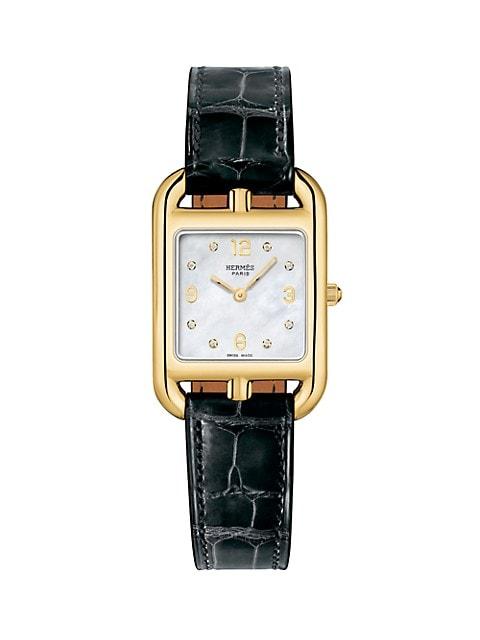 Cape Cod 23MM Diamond, 18K Yellow Gold & Alligator Strap Watch