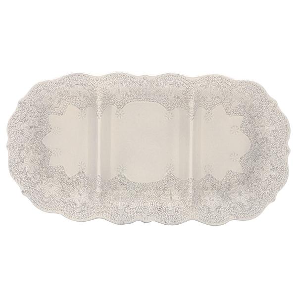 義大利VBC casa-手工浮雕蕾絲系列(米白色)40*22cm三格點心盤