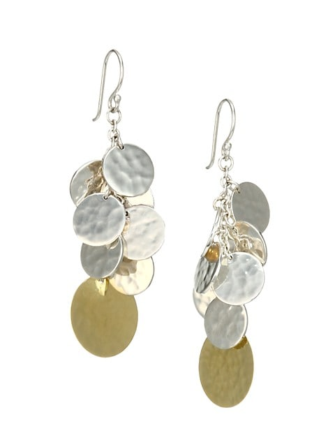 Classico Chimera Two-Tone Hammered Disc Cascade Earrings