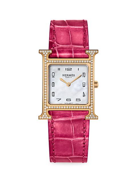 Heure H Diamond, Rose Gold & Alligator Strap Watch