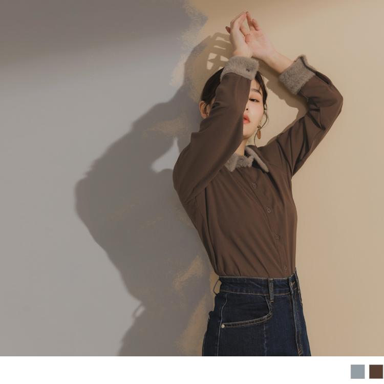 絨毛拼接排釦襯衫領長袖質感上衣
