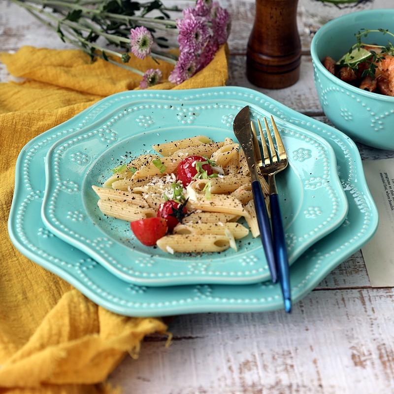 【朗汀】#現貨#小清新薄荷綠森女范法式復古浮雕西餐牛排盤子水果盤甜品盤沙拉碗