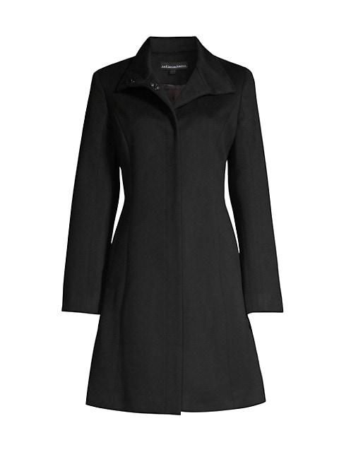 Funnel-Neck Wool-Blend Coat