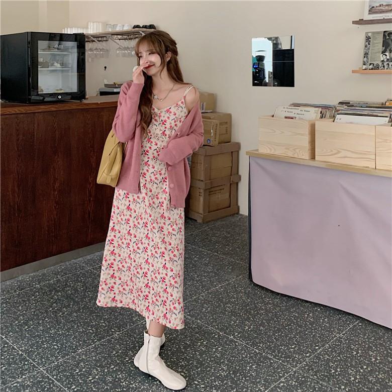 秒殺11.11聊聊說有9.6折扣秋冬胖MM新款大碼女裝網紅洋氣針織開衫兩件套甜美溫柔風裙子