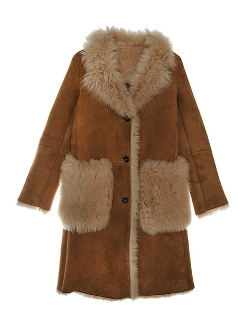 Shearling Longline Patch Pocket Coat