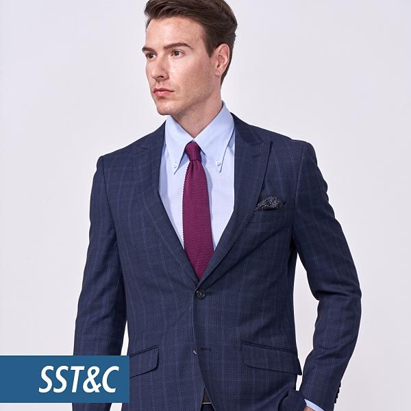 SST&C 男裝 海軍藍格紋裁縫西裝外套 | 0112010006