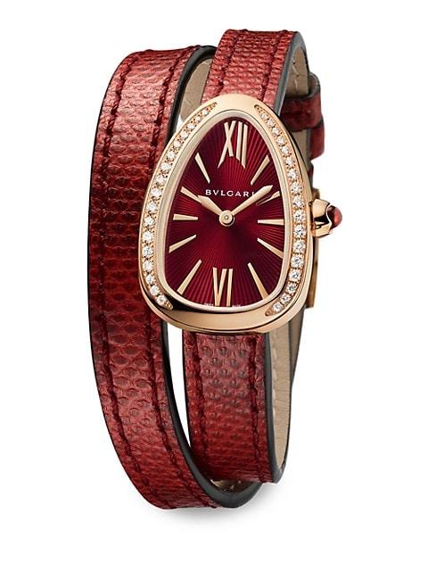 Serpenti Rose Gold, Diamond & Red Karung Strap Watch