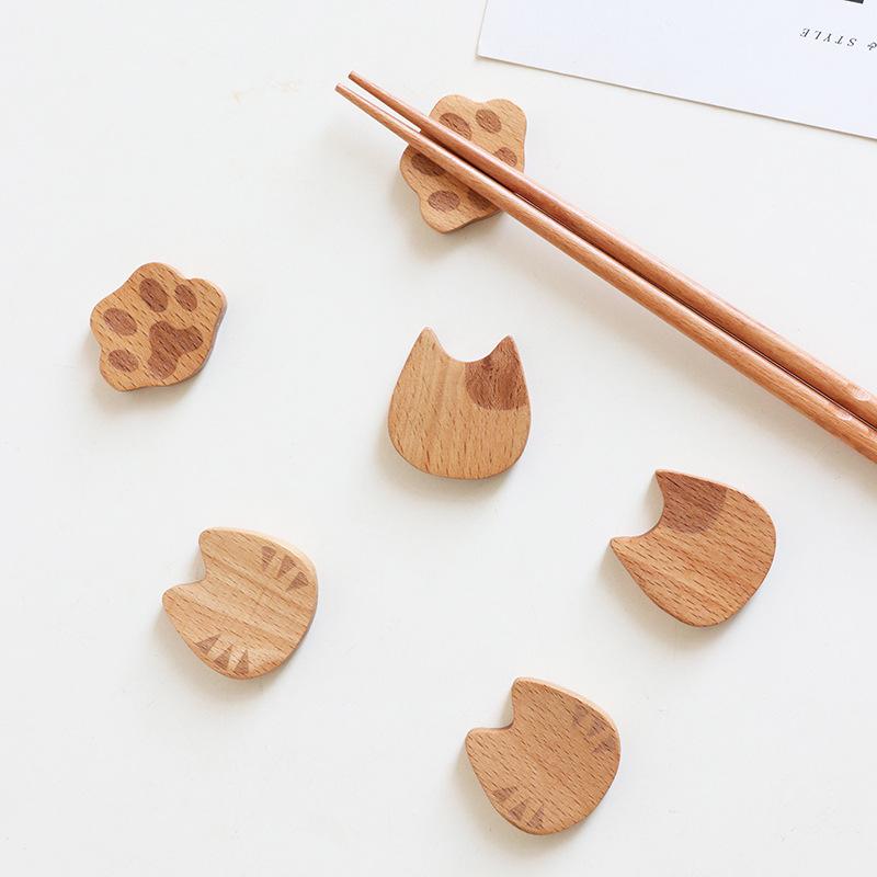 樂福❤【現貨】筷架 日式木質 櫸木 貓咪筷子架 環保餐具 療愈小物