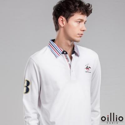 oillio歐洲貴族 男款 全棉透氣 長袖POLO衫 經典電繡 設計領子 白色