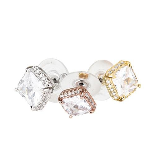 kate spade Save The Date壓印LOGO方形設計鑽鑲飾穿式耳環(三色) 廠商直送