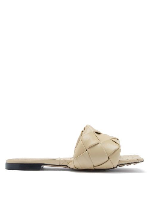 Bottega Veneta - The Lido Intrecciato Leather Slides - Womens - Beige