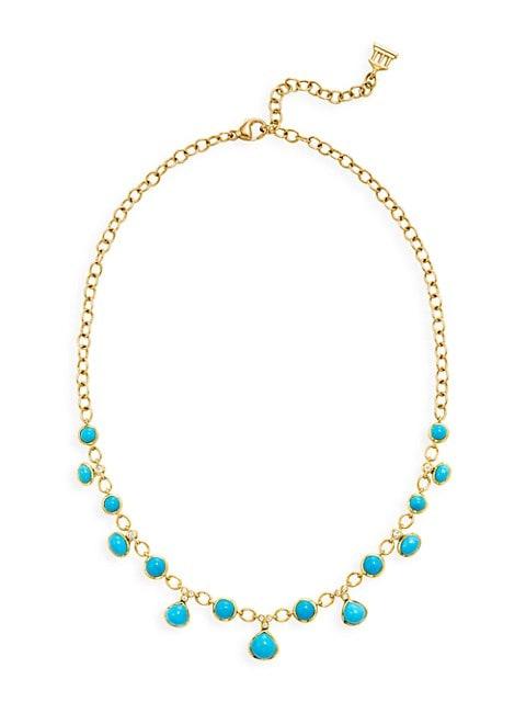 CL 18K Yellow Gold, Turquoise & Diamond Theo Half Bib Necklace