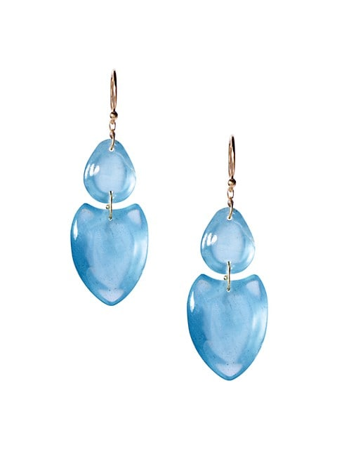 18K Yellow Gold & Aquamarine Double Heart Earrings