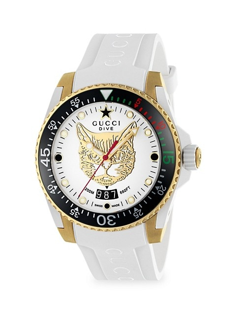 Diver Gucci Diver 45MM Stainless Steel Tiger Dial Watch