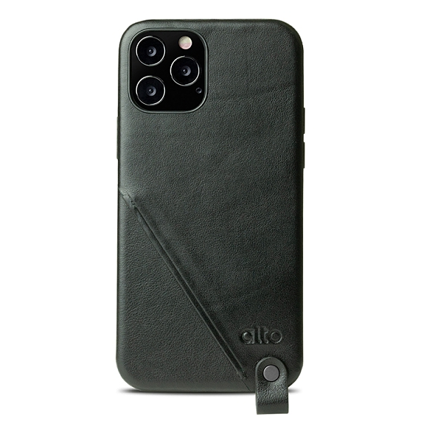 Alto iPhone 12/12 Pro通用款 頸掛卡插皮革防摔手機殼 6.1吋 Anello 360 - 渡鴉黑 附頸掛繩