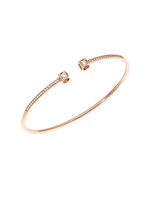 Le Cube 18K Rose Gold & Diamond Pavé Medium Bangle Bracelet