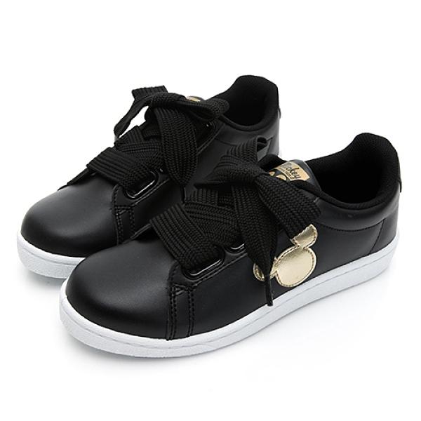 DISNEY 米奇寬版綁帶休閒鞋-黑金(DW5635)