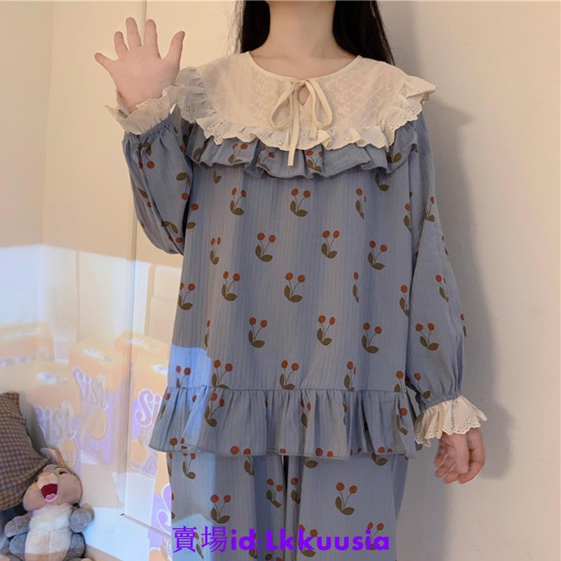 【微微動漫】甜美少女感蕾絲拼接外穿家居服兩件套公主風秋季長袖睡衣睡褲套裝