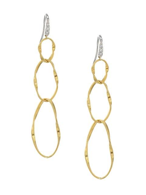 Marrakech Onde 18K Yellow Gold & Diamond Coil Triple-Drop Hoop Earrings