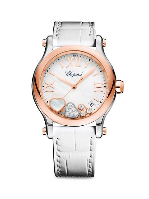 Happy Sport Diamond, 18K Rose Gold, Stainless Steel & Alligator Strap Watch