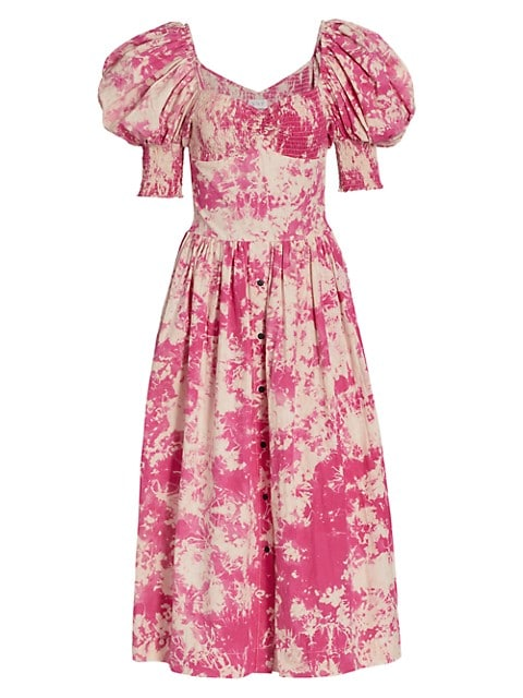 Puff-Sleeve Sweetheart Midi Dress