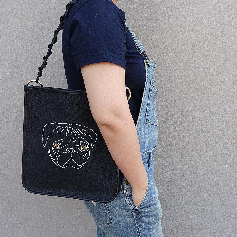 原創手作皮具+歐式刺繡 巴哥單肩包 | 真皮包 | 帆布包