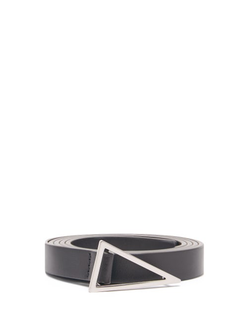 Bottega Veneta - Triangle-buckle Leather Belt - Mens - Black Silver