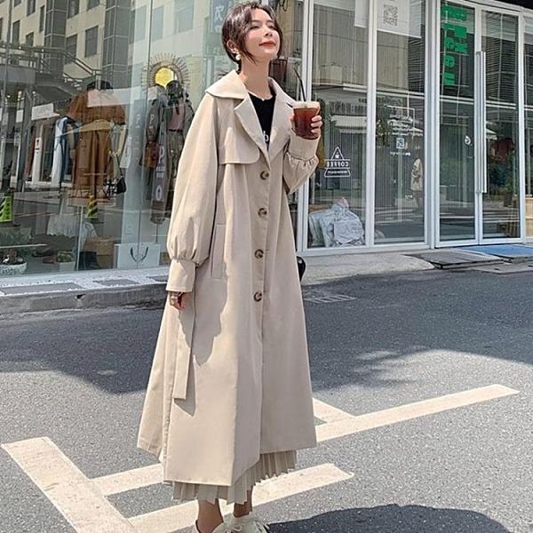 風衣外套 風衣女2021新款中長款小個子秋裝英倫風韓版寬鬆過膝流行溫柔外套 艾維朵