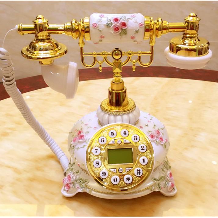 【馨*木】仿古電話機 室內電話 復古電話機 新款時尚歐式家用座機 古董電話 田園高檔雕花電話機生日禮物