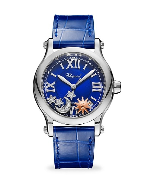 Happy Sport Automatic Stainless Steel Sapphire & Diamond Leather Strap Watch