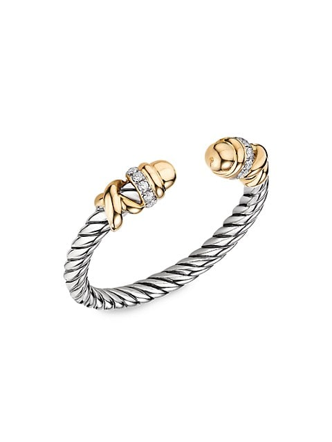 Helena Open Ring With 18K Yellow Gold & Diamonds