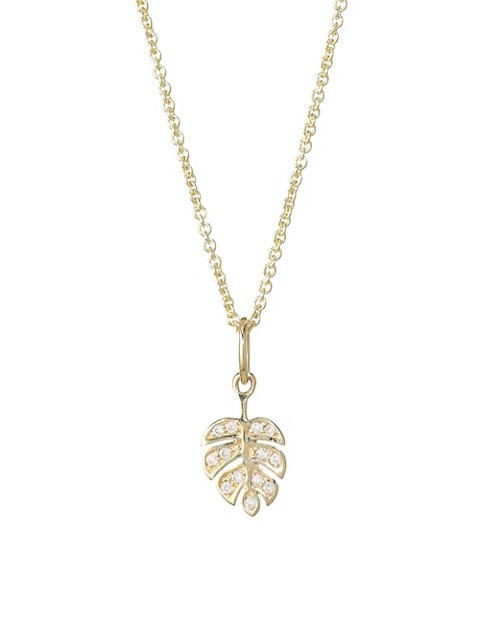 14K Yellow Gold & Diamond Mini Monstera Leaf Pendant Necklace