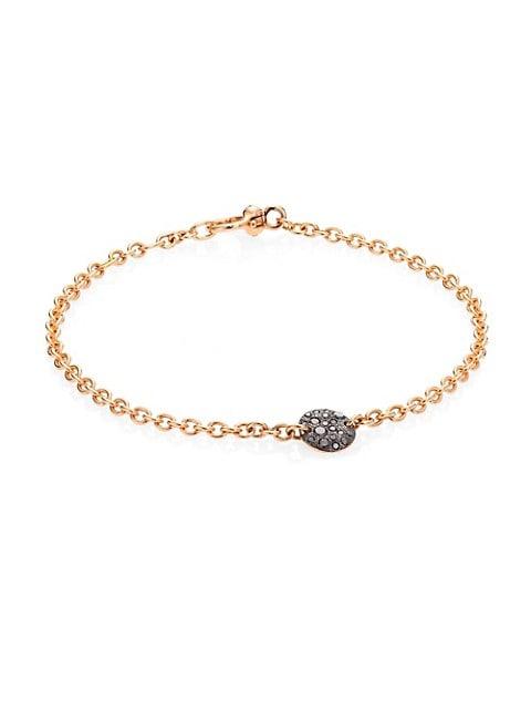 Sabbia Black Diamond & 18K Rose Gold Thin Bracelet