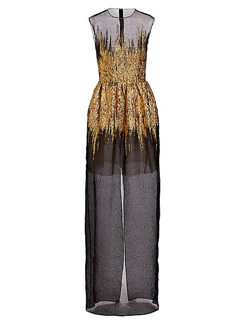 Sheer Foil Overlay Gown