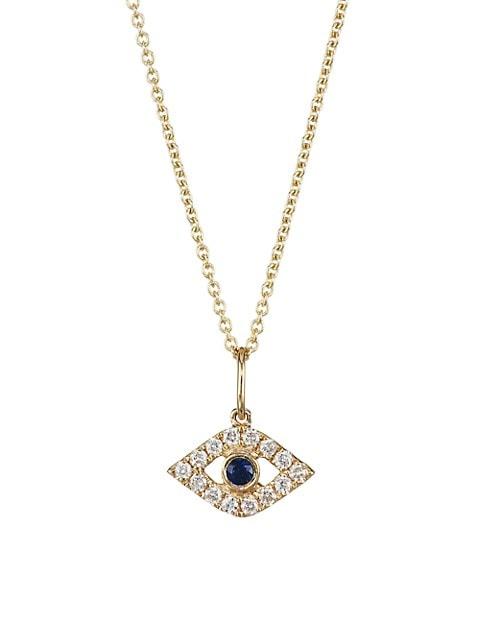 14K Gold, Diamond & Sapphire Evil Eye Pendant Necklace