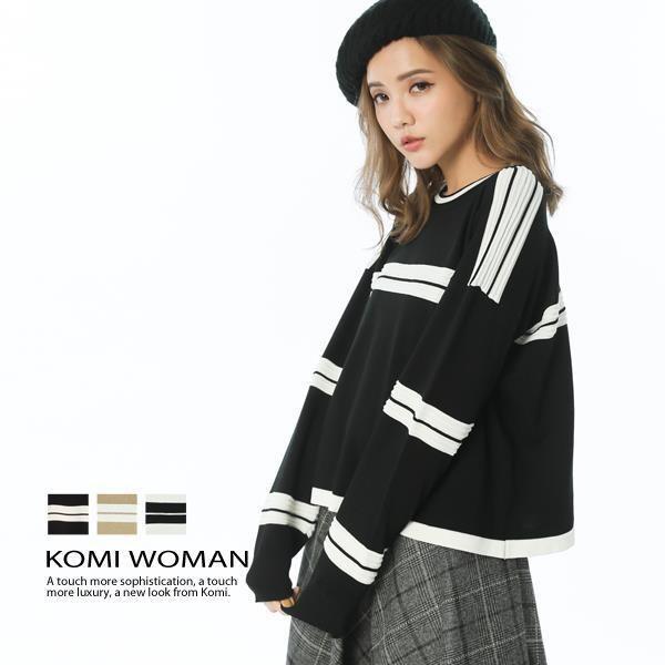 KOMI-配色立體條紋針織上衣‧三色